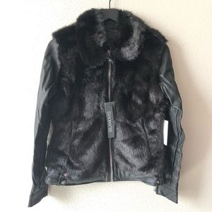NWT Blank NYC Faux Fur Bomber Jacket Sz Small